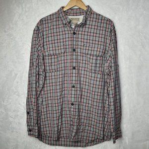 Duluth Button Down Shirt Plaid Nylon Blend Sz L